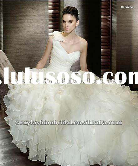3d flowers one trap corset big skirt with ruffle ball gown basque waist wedding dresses