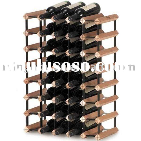 40 bottles wooden wine rack ,pine timber rack with natural color