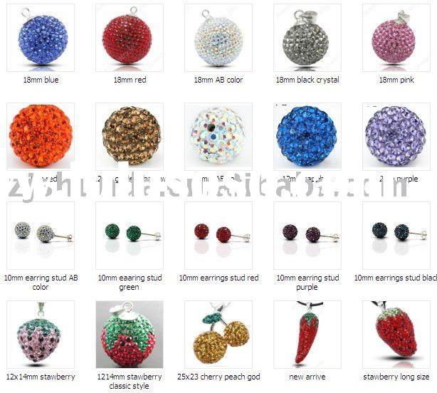 925 Sterling Silver Crystal Fashion Pave Bead Round Ball Pendant-12mm