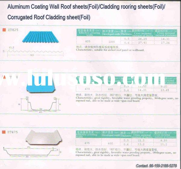 Aluminum Coating Wall Roof sheets(Foil)/Aluminium Cladding roofing sheets(Foil)/Aluminium Corrugated