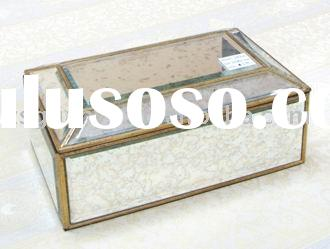 Antique mirror gold frame finished jewelry box