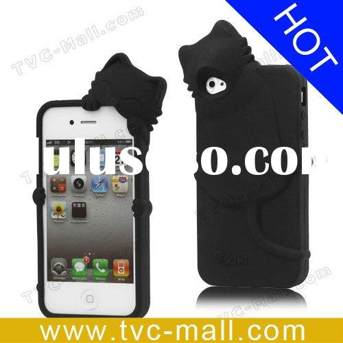 Black Cat Cute Silicone Case for iPhone 4
