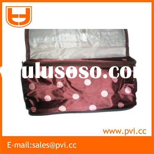 Black & Pink Polka Dot Hanging Cosmetic Bag