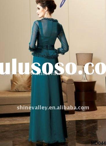 Brand New Formal Straps A-line Long Chiffon Mother of Bride Dress,MD044,with Long Sleeve Jacket