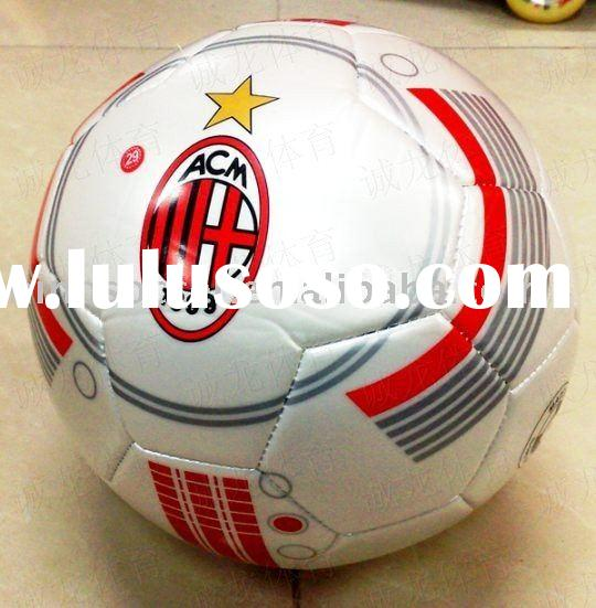Brand new 2010 AC milan white PU laminated soccer ball football wholesale/detail+freeshipping