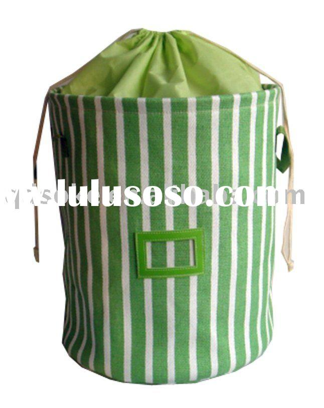 Candy strip paper straw fabric laundry basket with handle and shrinkage