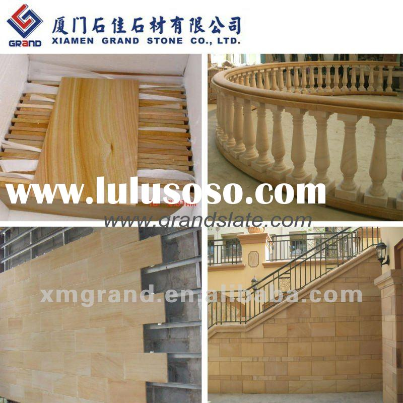 Chinese Yellow sandstone tiles and natural sandstone wall cladding and sandstone balustrades and san