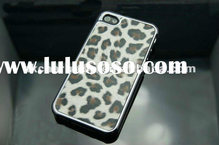 Chrome Leopard Leather Cell Phone Case