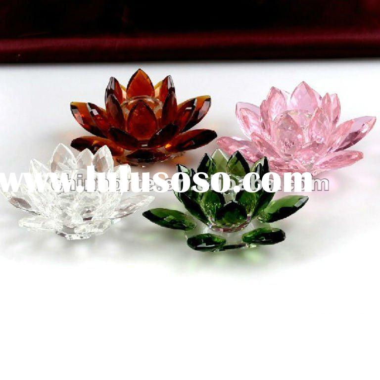 Color Crystal Glass Lotus Flower Candle Holders for Wedding Decoration
