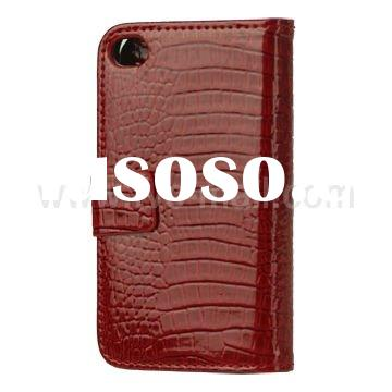Crocodile Leather Wallet Case with Magnetic Flip for iPhone 4