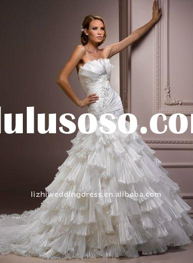 Custom-made 2012 new style strapless satin chaple train applique A-line wedding dresses MGN158