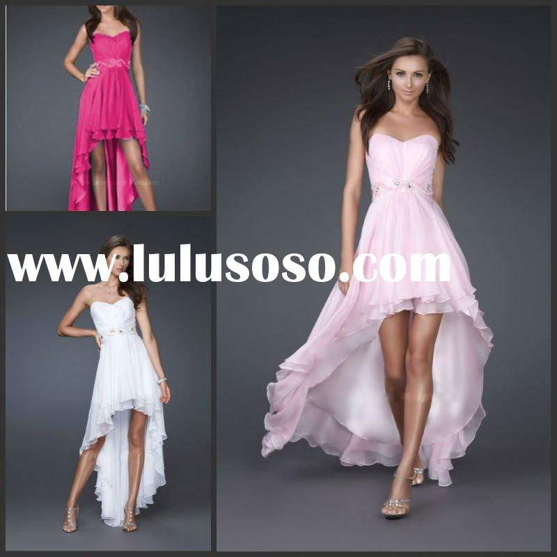 Delicate strapless front short and long back chiffon prom dress YS-1026