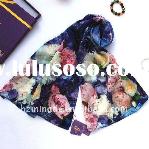 Digital print 100% silk scarf rose