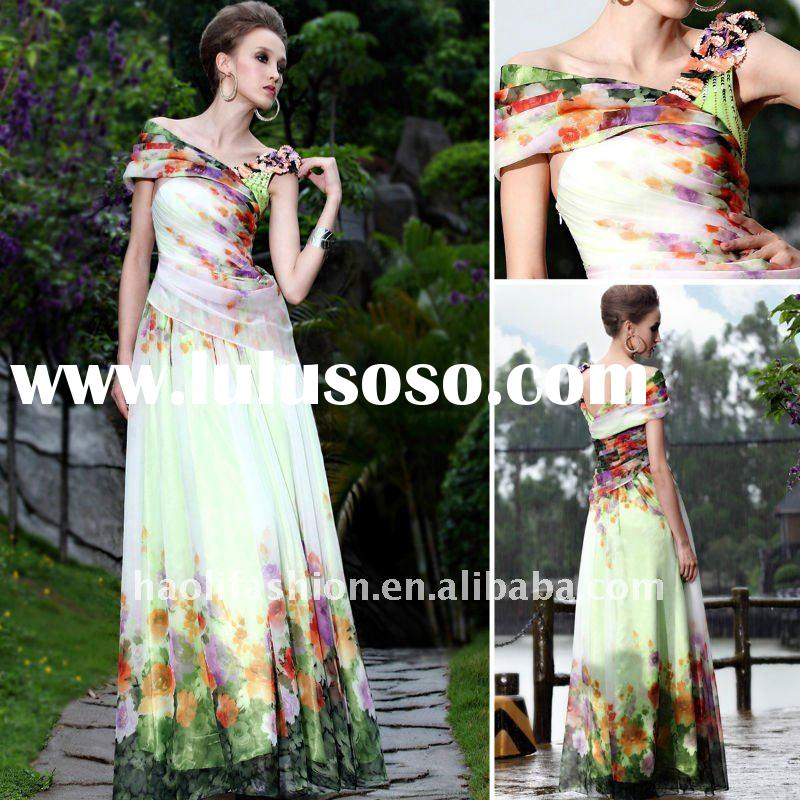 Dorisqueen Latest new style Colourful Asymmetrical Design Floor Length dresses new fashion 2011