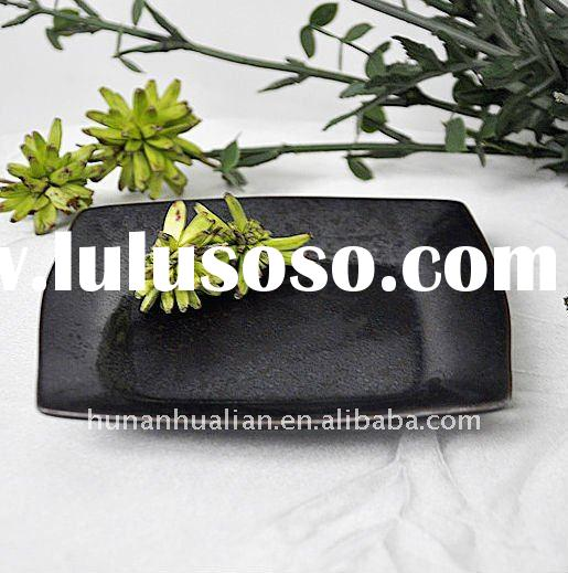 Durable square pure black ceramic soap dish