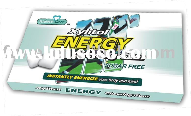 Energy sugar free chewing gum