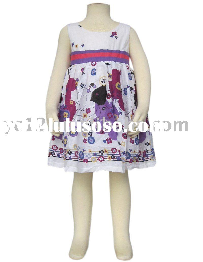 Fashion Print Splice Sleeveless O-neck Baby Frock