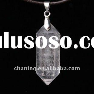 Fashion jewelry natural gemstone freeform cut crystal/clear quartz double point pencil pendant