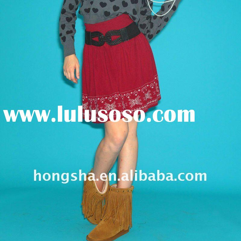 Fashion spring/ winter knit skirts for women red HSK014