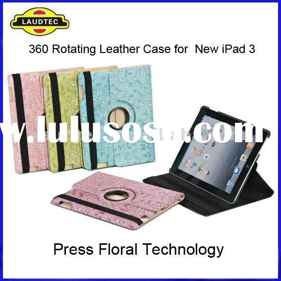 For New iPad & iPad 3, 360 Rotating Leather Case Cover, Floral Design, High Quality, New Arrival