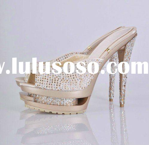 GSL007 Lady shoes/slipper Fashion high heeled crystal double platform free shipping
