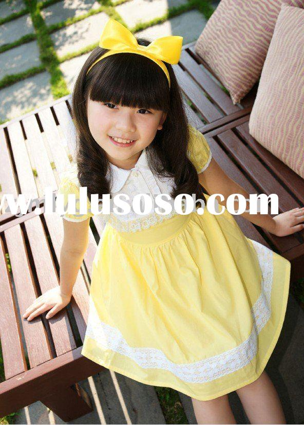 Hot Sell Girl yellow banded lace dress 2011 summer fashion style girl dress