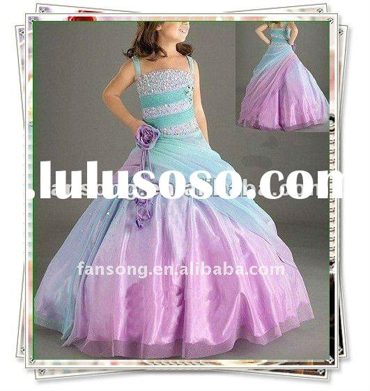 Hot-sale beaded spaghetti ball gown flower girl dress