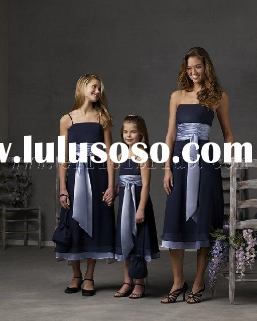 LY-7009 light and dark blue three-piece Bridesmaid Dresses\gown dress \fashion designer evening dres