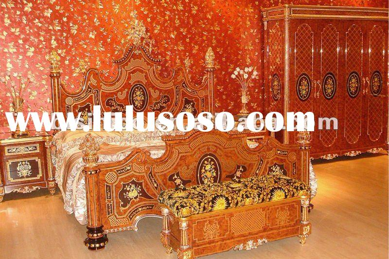 Luxury Italy style gold plated antique bedroom furniture set.MOQ:1SET(B6006)