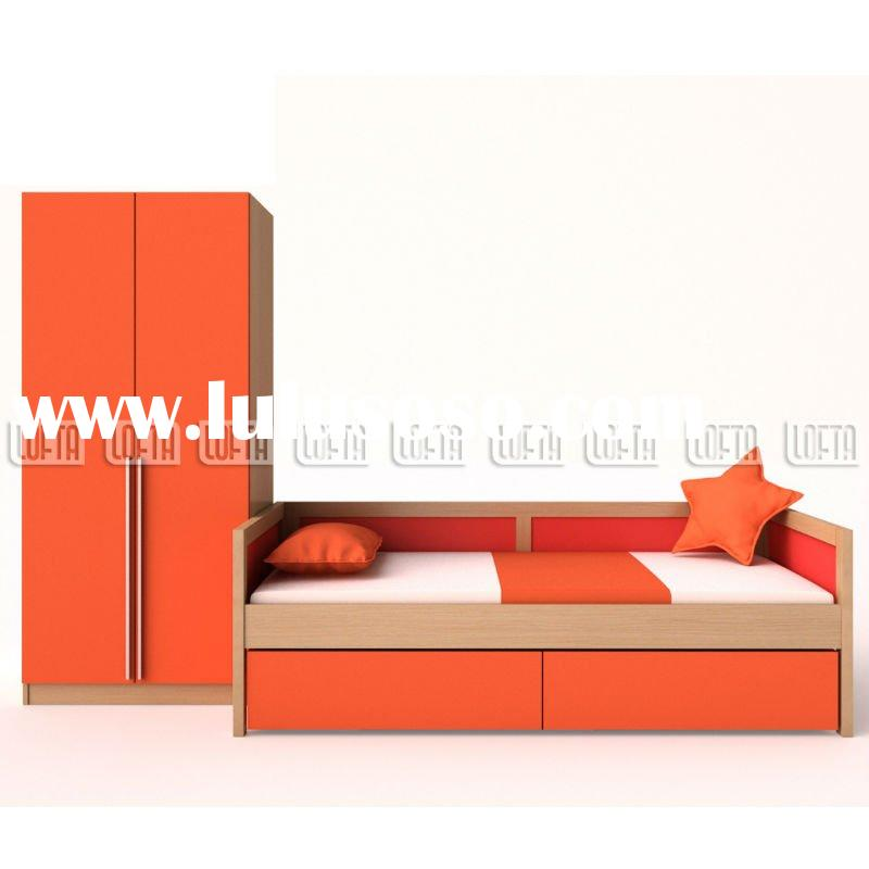 MDF Children furniture sets with new designs wooden bed and panel door wardrobe as day bed collectio