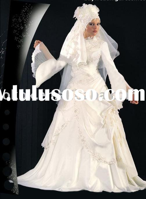MS038 Dubai Amazing white high quality long sleeve Muslim wedding dress