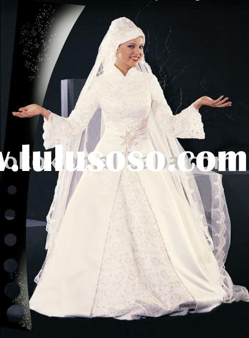 MS234 Muslim style long sleeve lace veils hats dubai wedding gown