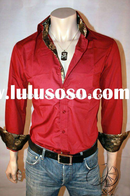 Men's Slim Fit Silk Sleeve&Collar Shirts,Customized Mens High Quality Casual Shirts