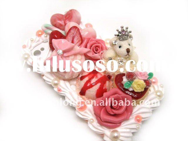New arrival! Fancy unique pink rose and bear candy cake mobile phone shell,novelty cell phone covers