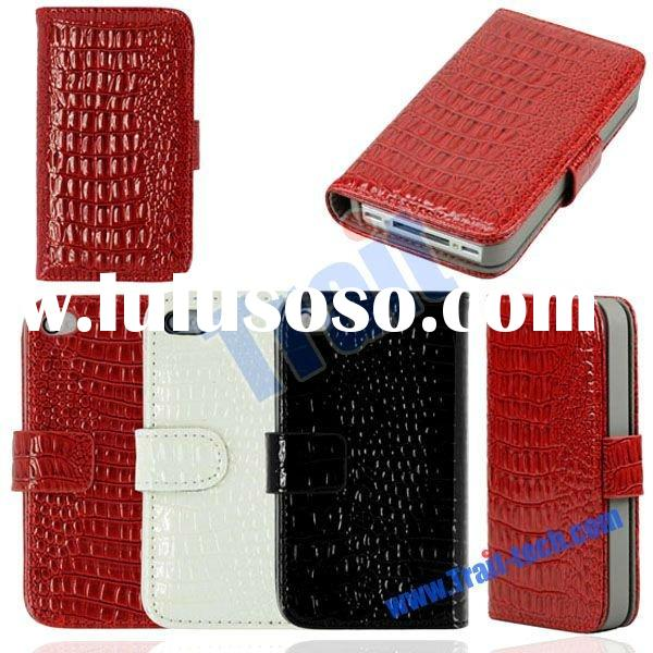 Newest Luxury Flip Leather Hard Wallet Case for iPhone 4