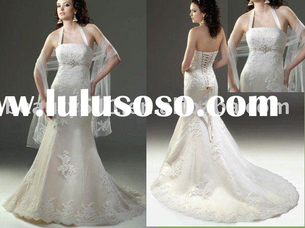 Noblest Exquisite appliqued long-tail wedding dress bridal gown ql14447