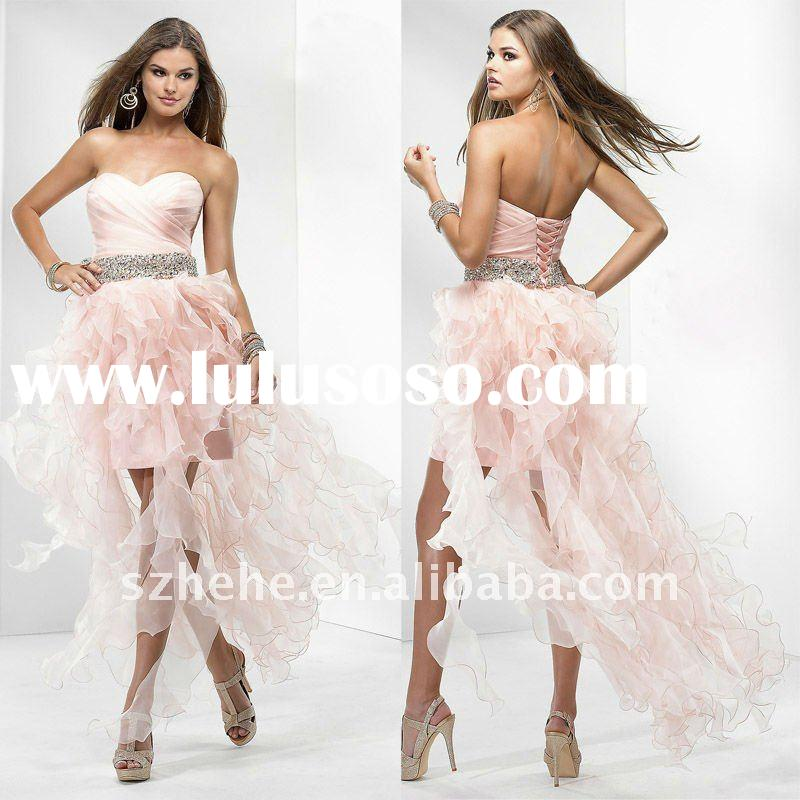 P0112 wholesale beaded waist organza pink bandage short front long back prom dress