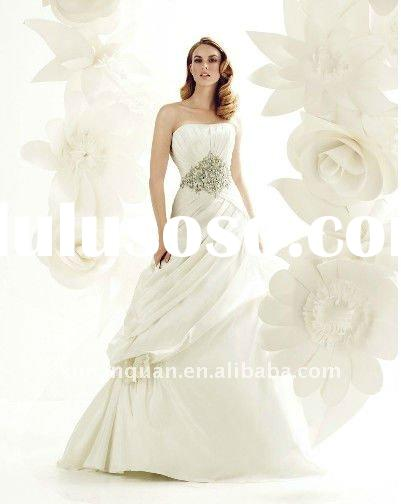 PJW027 latest design pleated women's ball gown crystal embellished dubai wedding gown with h