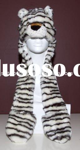 PLUSH ANIMAL HEAD HAT CUTE SNOW TIGER ADULT ANIMAL HAT AND SCARF