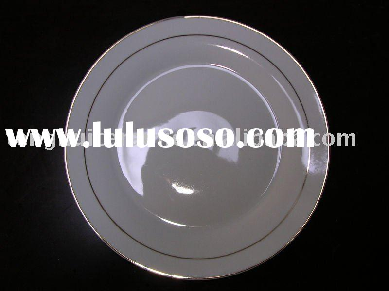 Plain white flat plate with gold rim fine porcelain ceramic fine china tableware set