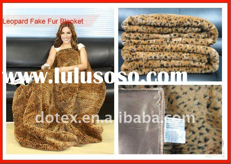 Polyester leopard faux fur throws