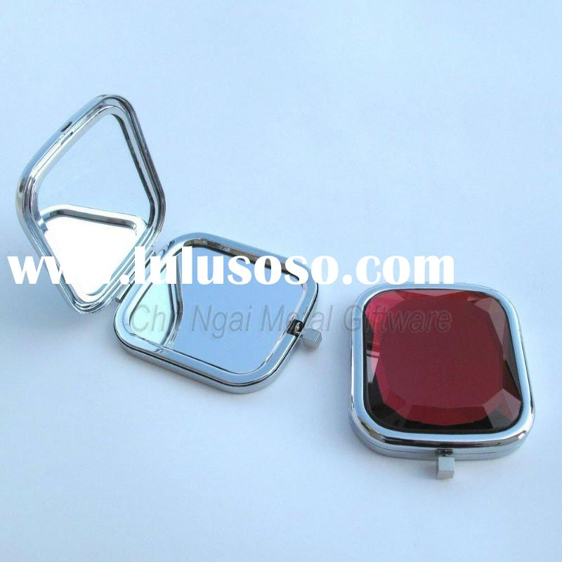Popular square compact mirror with red stone on the top