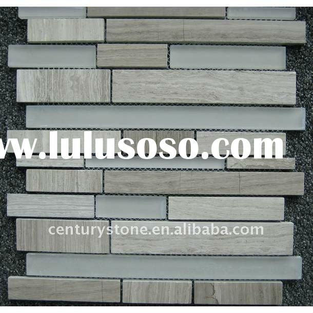 Random Strip Interlocking Pattern Glass and Stone Mosaic Tile