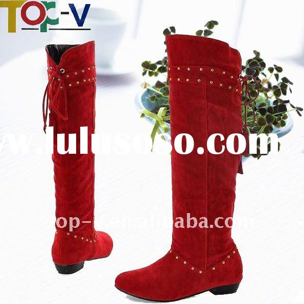 Red Knee Boots of Lace-up Lady Boot Flat