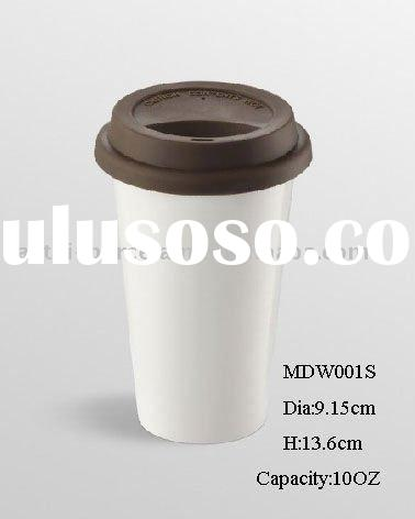 Reusable eco-friendly double wall ceramic mug w/ silicone lid 10oz
