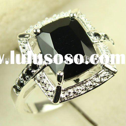Ring jewelry 925 sterling silver charm crystal Black onyx