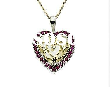 Ruby & Mother of Pearl Heart Pendant in Sterling Silver and 18K Gold with Diamonds Jewelry
