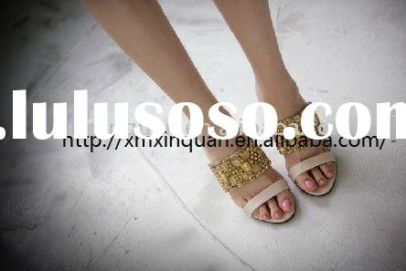SS004 fashion design gold jewel bead pink high heel ladies sandals
