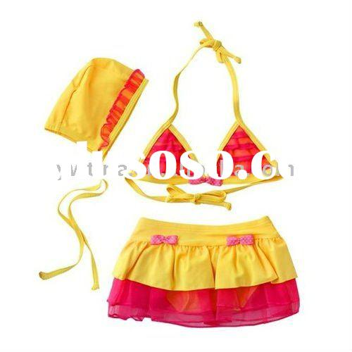 So Q!!Yellow w hot pink Baby Swimsuit/Baby Bathing Suit/Swimwear