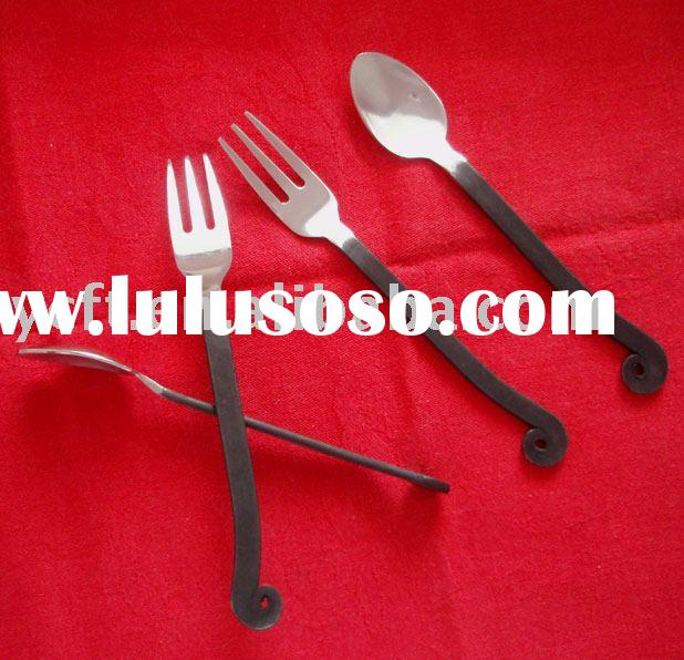 Stainless steel tea spoon,cake fork,Coffee spoon with Black handle -3200H